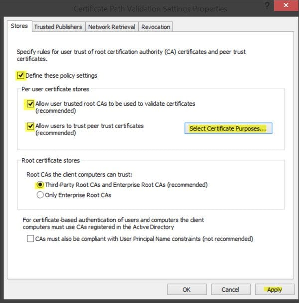 Managing trusted root certificates in Windows 10/8 7
