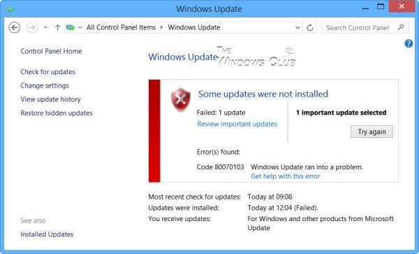 Código de error 80070103 Windows Update tuvo un problema