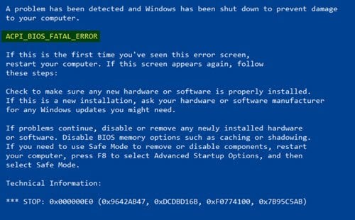 Corrección de ERROR de la BIOS ACPI en Windows 10/8/7