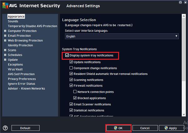 Cómo deshabilitar la bandeja del sistema AVG AntiVirus Free Notificaciones