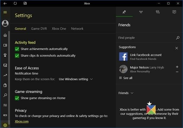 Administración de las fuentes de actividad en Xbox App en Windows 10