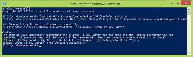 Agregar un elemento al menú contextual del escritorio en Windows 10/8/7 con PowerShell