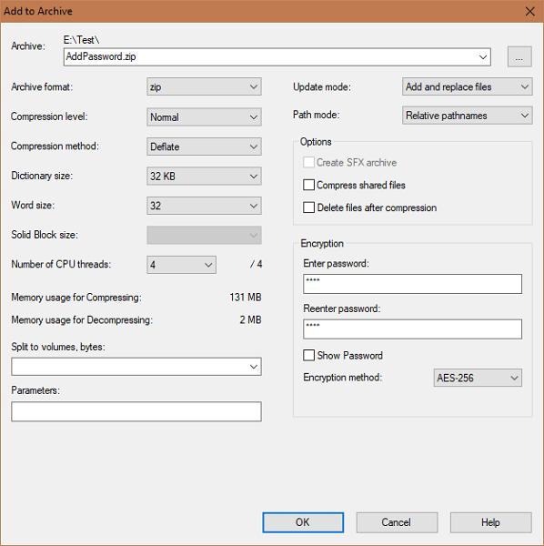 Cómo agregar una contraseña al archivo Zip en Windows 10/8/7