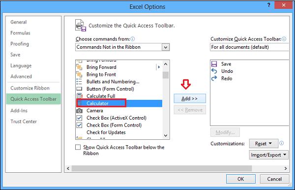 Agregar Calculadora de Windows a la barra de herramientas de acceso rápido de Excel 3
