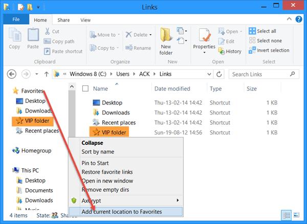 Agregar carpetas personalizadas a los vínculos favoritos en el Explorador de archivos de Windows 1