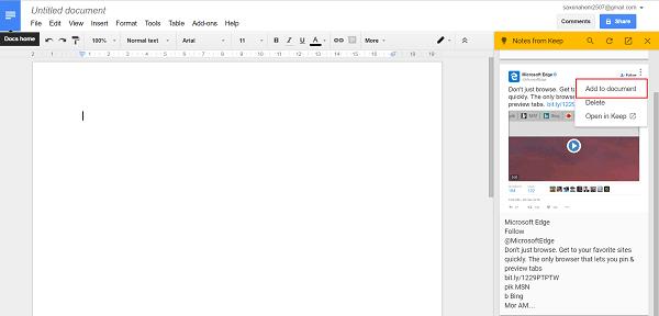 Cómo añadir notas a Google Docs desde Google Keep