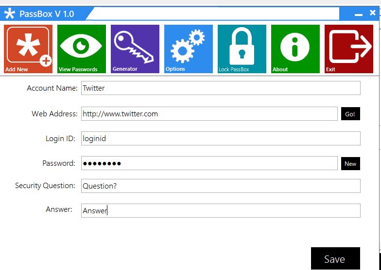 PassBox : Gestor y Generador de contraseñas gratuito para Windows 10/8/7 3