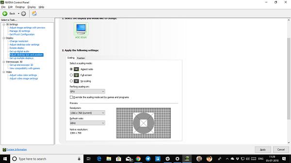 No se puede cambiar la resolución de pantalla en Windows 10