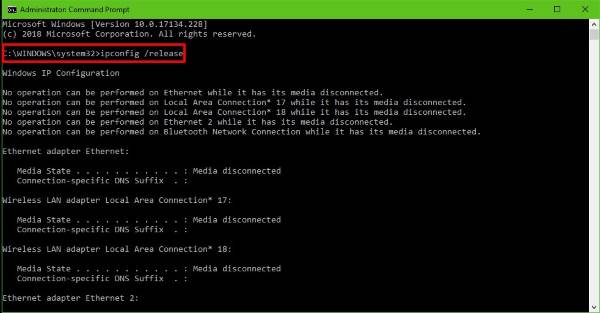 Corregir error ERR_EMPTY_RESPONSE en Chrome en Windows 10 2