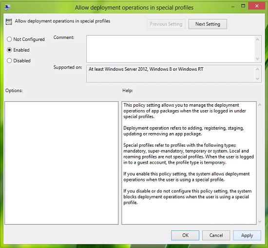 Permitir operaciones de implementación en perfiles especiales en Windows 8
