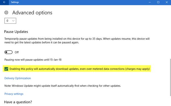 Permitir que las actualizaciones de Windows se descarguen automáticamente a través de Metered Connections 1