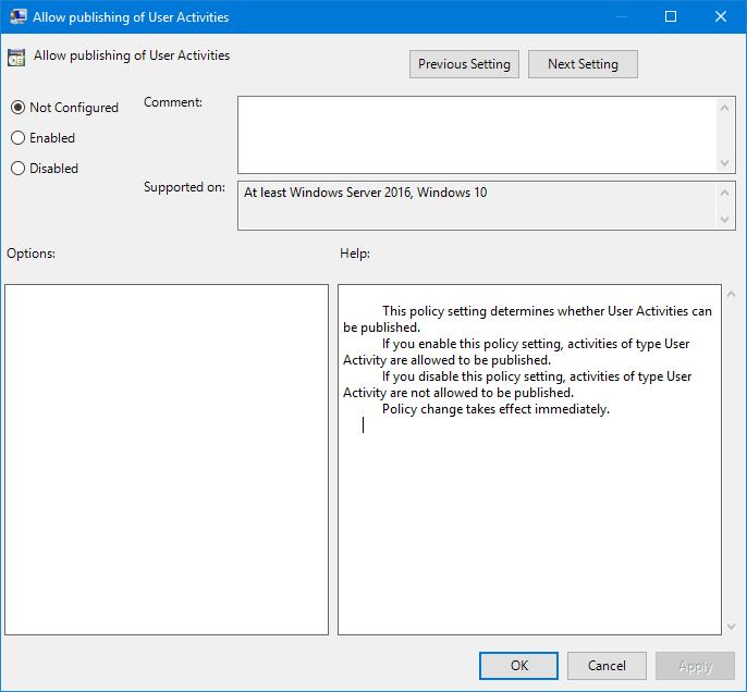 Cómo deshabilitar el Historial activo de Windows 10 de forma permanente