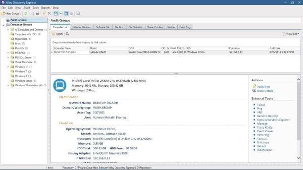 Realice una auditoría de red con Alloy Discovery Express para Windows 2