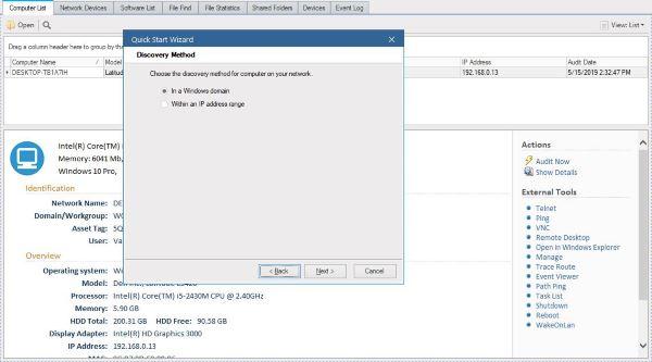 Realice una auditoría de red con Alloy Discovery Express para Windows 1