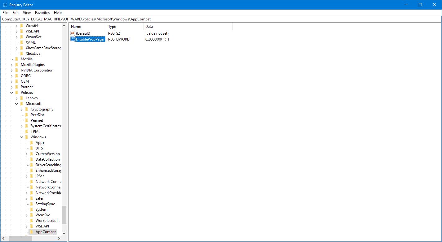 Cómo agregar o quitar la ficha Compatibilidad de Propiedades de archivo en Windows 10