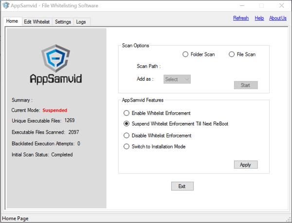 AppSamvid: Software gratuito de listas blancas de aplicaciones para Windows
