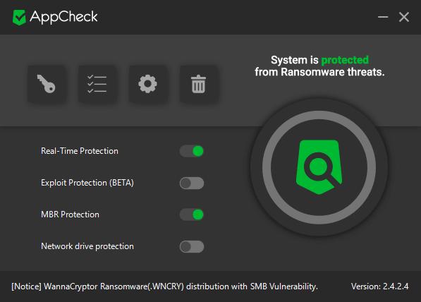 AppCheck Anti-ransomware protege sus Windows contra ataques de ransomware