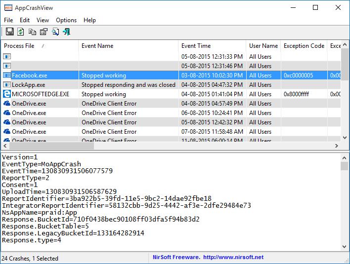 Ver archivos.wer que se bloquean con AppCrashView