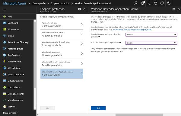 Función de seguridad de Control de aplicaciones en Windows Defender en Windows 10