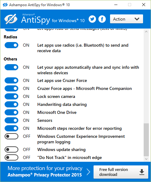 AntiSpy: Controle lo que Windows 10 sabe de usted