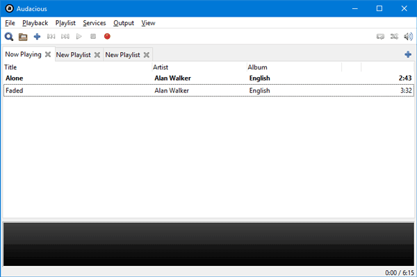 Audaz: Reproductor de música multipestaña gratuito con una interfaz similar a la de Winamp