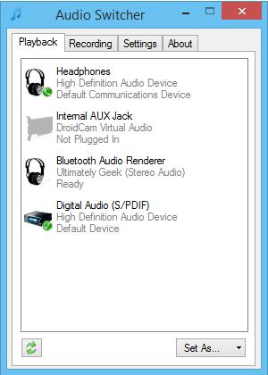 Conmutador de audio: Usar tecla de acceso directo para cambiar los dispositivos de audio predeterminados 1