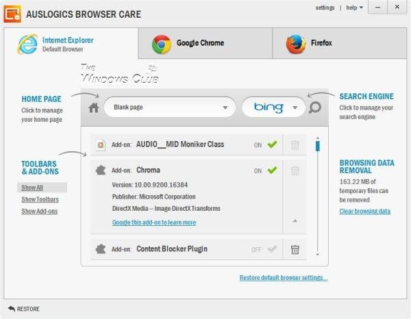Cuidado del navegador Auslogics: Gestione, limpie y acelere todos sus navegadores