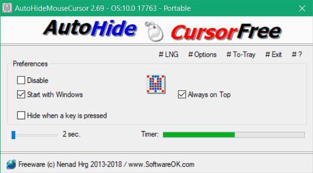 Cómo ocultar el cursor del ratón en Windows usando AutoHideMouseCursor