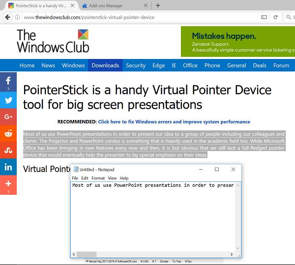 Copiar automáticamente el texto seleccionado en Firefox al Portapapeles o Bloc de Notas