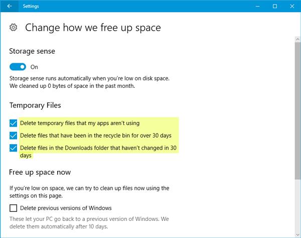 Eliminar automáticamente los archivos de la carpeta Descargas y la Papelera de reciclaje después de 30 días en Windows 10. 2