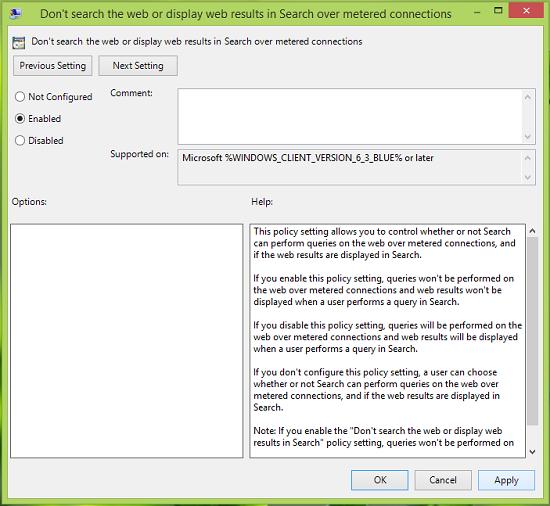 Cómo deshabilitar los resultados de la búsqueda sobre conexiones medidas en Windows 8.1