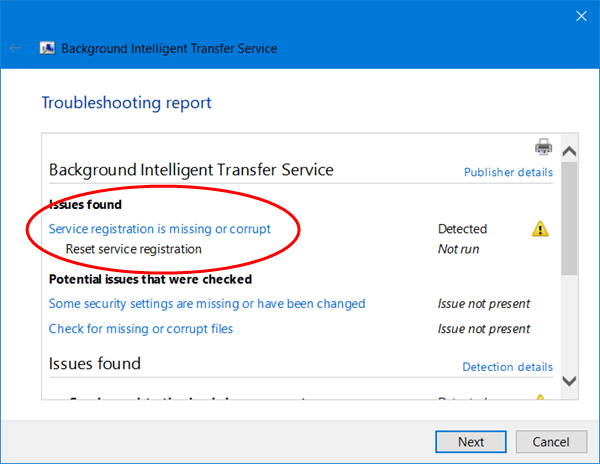 El servicio Background Intelligent Transfer Service no funciona en Windows 10