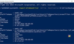 Exportación y copia de seguridad de controladores de dispositivos en Windows 10 mediante PowerShell
