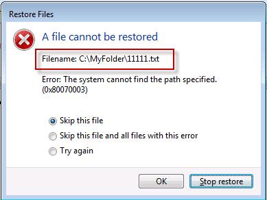 Error en la copia de seguridad de Windows o en la restauración del sistema, errores 0x80070001, 0x8100000037, 0x80070003