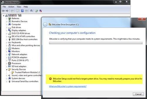 BitLocker Setup no pudo encontrar una unidad de sistema de destino para preparar