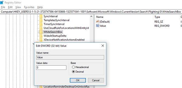 El cuadro de búsqueda de Cortana se volvió blanco en Windows 10