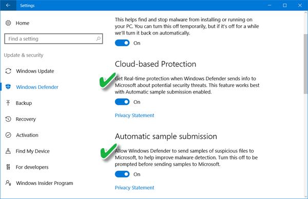 Bloqueo en la protección First Sight en Windows Defender en Windows 10