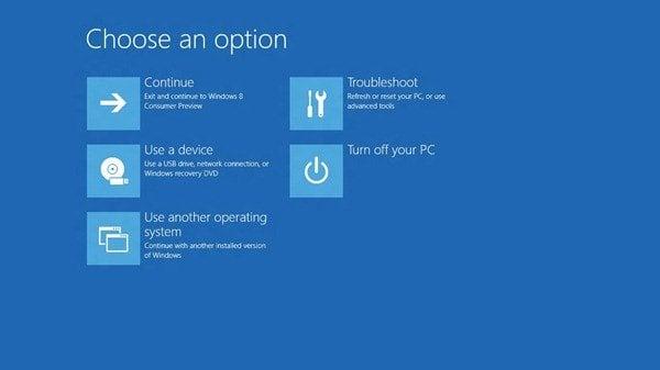 Mostrar opciones o menú de inicio avanzado en Windows 8 1