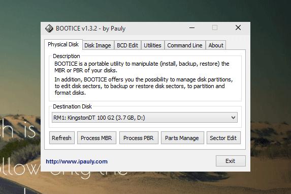 Corregir el problema del tamaño de almacenamiento incorrecto de la unidad de disco de la pluma usando Bootice 1