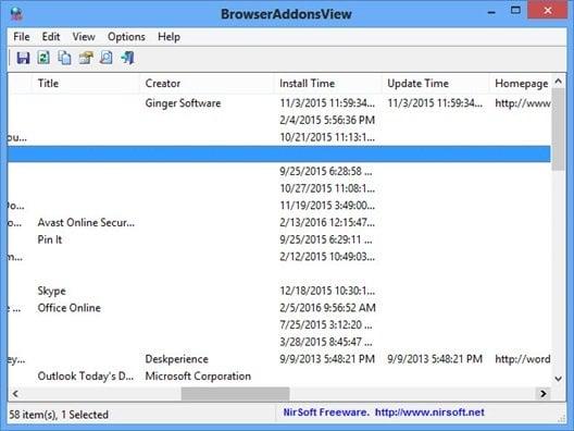 BrowserAddonsView, un pequeño programa gratuito para administrar los complementos del navegador en su PC