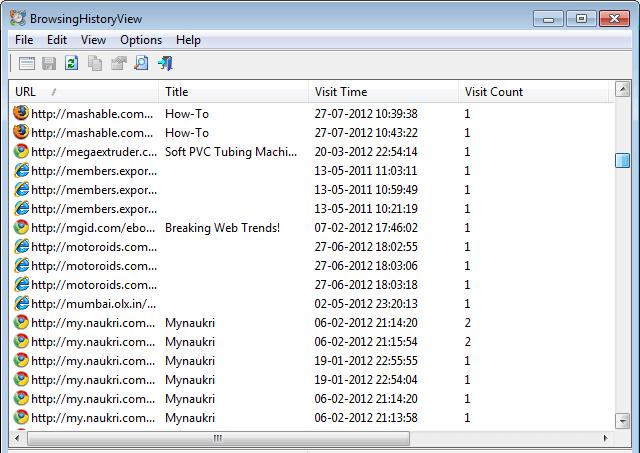 NavegaciónVistaHistoria: Ver el historial de navegación de 4 navegadores al mismo tiempo 4