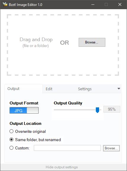Crea imágenes web amigables con Bzzt! Editor de imágenes para Windows PC
