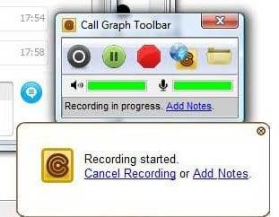 Grabar una conversación de Skype con la barra de herramientas Gráfico de llamadas