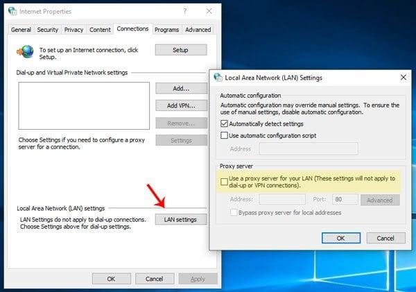 No se puede conectar al servidor proxy dice Microsoft Edge en Windows 10