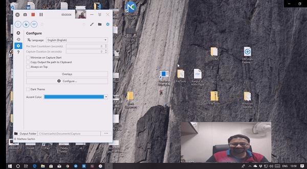 Captura: Captura de pantalla, cámara web, grabación de audio, pista, clics del ratón y pulsaciones de teclas 3