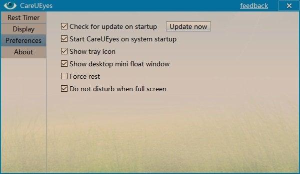 CareUEyes es un software gratuito para el cuidado de los ojos para Windows que viene con un filtro de luz azul.