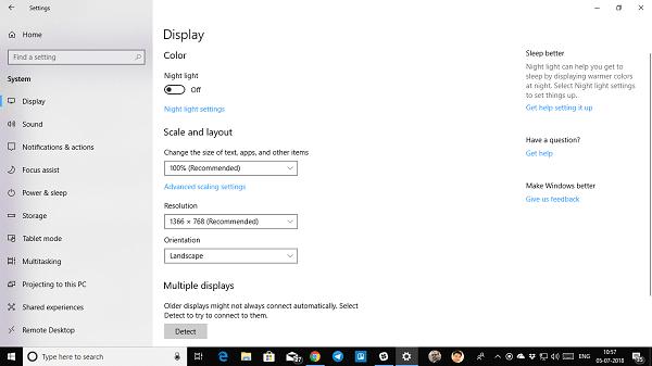 No se puede cambiar la resolución de pantalla en Windows 10 1