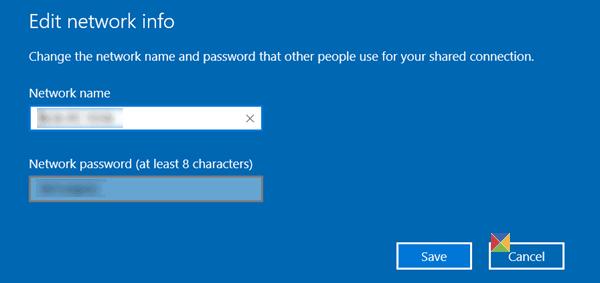 Crear una Hotspot para móviles; cambiar el nombre y la contraseña de la Hotspot en Windows 10