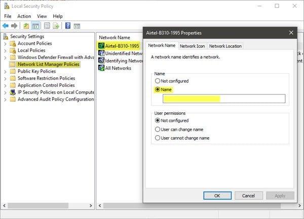 Cómo cambiar o renombrar Active Network Profile Name en Windows 10