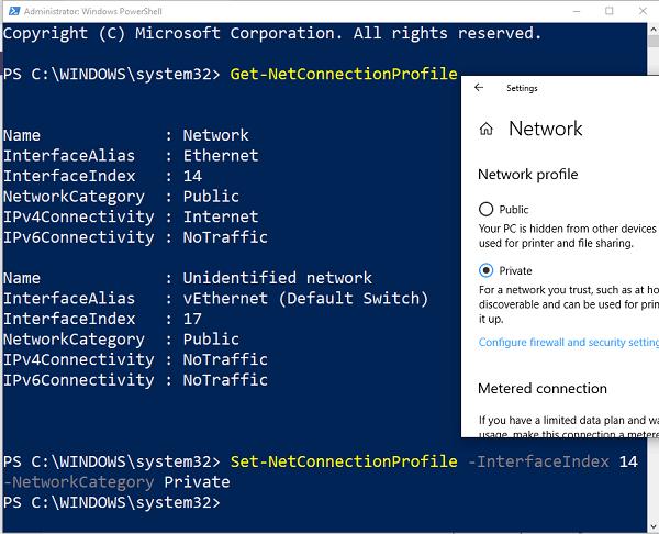 Falta la opción de cambiar Red de Pública a Privada en Windows 10 2